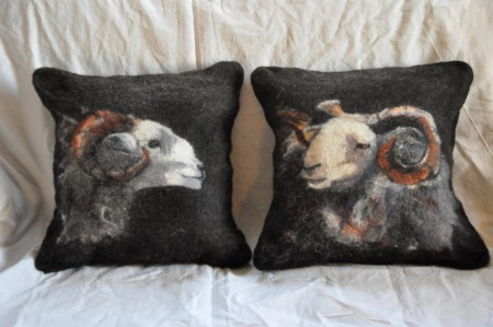 Pair of cushions made with herdwick, shetland and merino wools