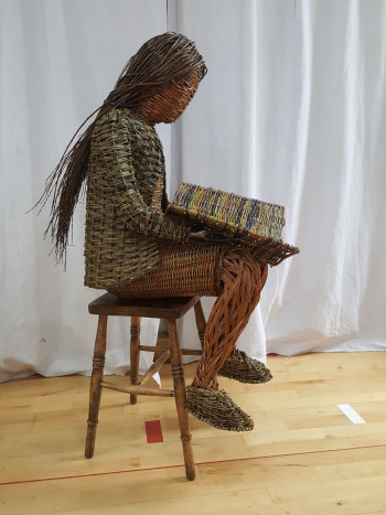 Woven Willow Girl Sculpture